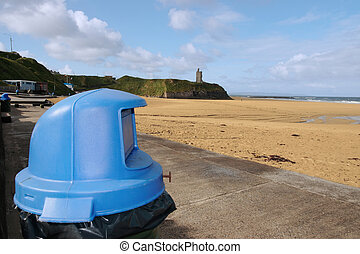 tidy beach - rubbish bins on the beach front in ballybunion...