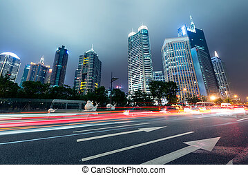 shanghai china - the light trails on the modern building...