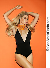 Beautiful curvaceous blond in a swimsuit - Beautiful...