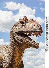 Head of a Dinosaur - Head of a dinosaur isolated against a...