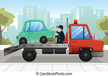 Tow truck towing a broken down car - A vector illustration...