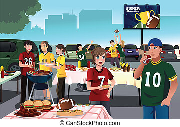 American football fans having a tailgate party - A vector...