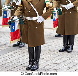Changing of the Guard - Members of the Carabineros Band at...