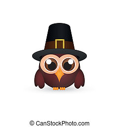 Thanksgiving day - abstract owl with a hat alluding to...