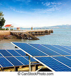 Seaside solar panels - China Gulangyu, solar panels and wind...