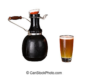 Isolated cutout of growler and glass of beer - Cutout of a...