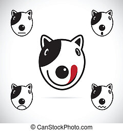 Vector images of Bull terrier face on a white background