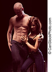 Perfect Body Young Couple Wearing Jeans - Perfect Body Young...