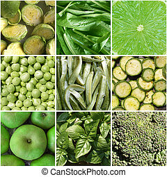 Vegetables collage - Food collage including 9 pictures of...