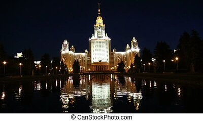 Lomonosov Moscow State University at night, main building,...