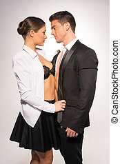 Two Sexy Young Couple in Fashion Portrait