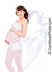 childbearing - Beautiful pregnant woman in flying air...