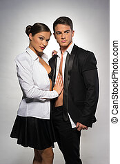 Sexually Attractive Couple in Black and White - Sexually...