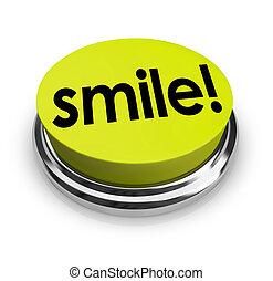 Smile Word Yellow Button Funny Humor Good Spirits - Smile...