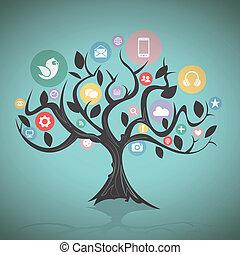 Social Media Tree - Vector illustration of a social media...
