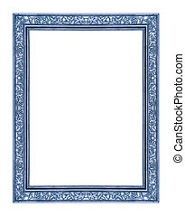 vintage blue frame isolated on white background, with...