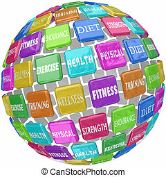 Fitness Exercise Physical Health Words Globe Ball - Fitness...