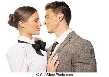 Closeup Couple Almost Kissing Portrait