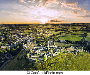Corfe Castle sunrise - sunset at Romantic fantasy magical...