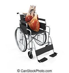 Human Heart on Wheelchair