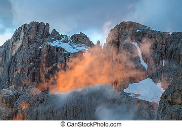 suset in Dolomite Alps, Italy - sunset landscape from...