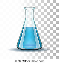 Chemical laboratory transparent flask with blue liquid.