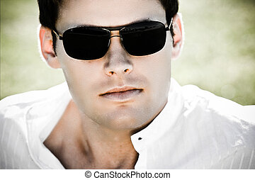 Contrast Attractive Man With Sunglasses