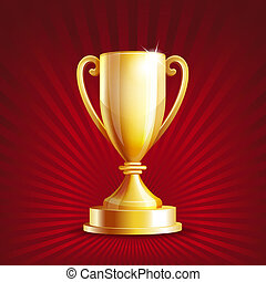 Golden trophy cup. Vector illustration