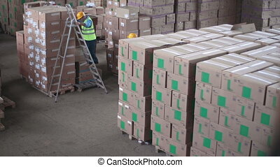 Depot Routine - One laborer arranging boxes in piles, his...