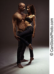 Middle Age Couple Showing Sexy Body Portrait - Middle...
