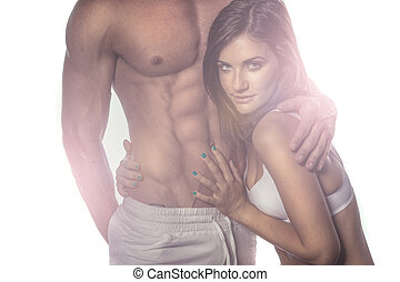 Sexy Romantic Couple on Haze Portrait. Emphasizing Seductive...