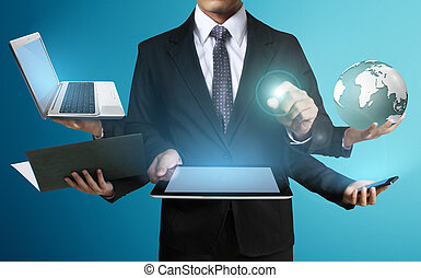 Technology in the hands of businessmen - Working on a...