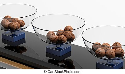 Lottery baskets with basketball balls isolated on white