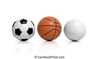 Volleyball, basketball and soccer balls isolated on white
