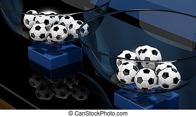 Lottery baskets with soccer balls closeup