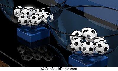 loteria, cestas, futebol, Bolas, closeup