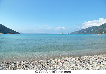 Seascape with tranquil waters, horizon and boats, Vassiliki...