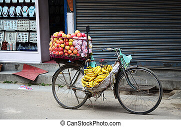 Bicycle Fruit Shop in Nepal - Bicycle Fruit Shop or...