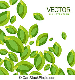 Vector Abstract Background of Green Leaves on White...