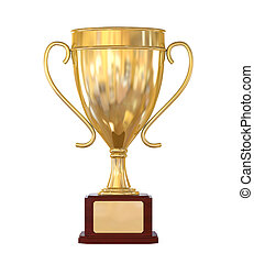 Gold Trophy Cup isolated on white background. 3D render