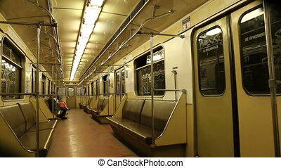 In subway train, Moscow metro Underground, Russia