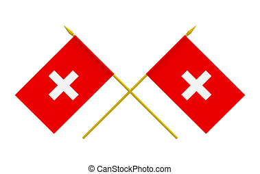 Flags, Switzerland - Two crossed flags of Switzerland, 3d...