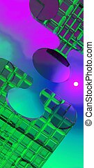 Puzzle Pieces - Two brightly colored translucent puzzle...