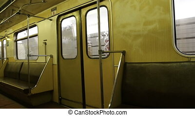 In subway train, Moscow metro (Underground), Russia