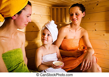 sauna girls - two young women and a little girl in the sauna