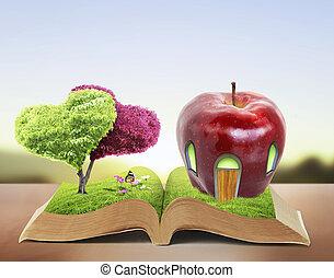 libro, aperto, natura