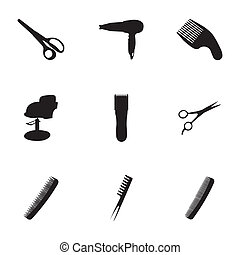 vetorial, pretas, barbeiro, ícones, jogo