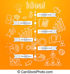 Process of idea generation, business illustration, vector