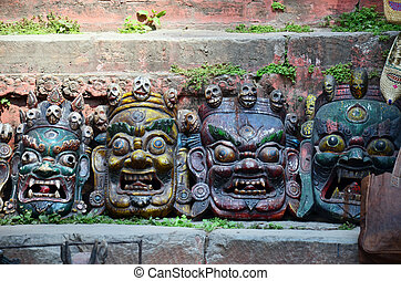 Carving Devil Mask nepal style - The city of Kathmandu was...