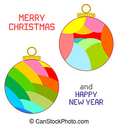 Christmas Ornaments - An illustration of two multicolored...